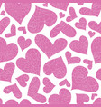 pink floral hearts seamless pattern vector image