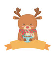 reindeer with scarf holding chocolate cup vector image vector image