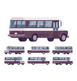 retro bus black-white set vector image vector image