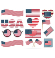 Set of American flags and hearts vector image