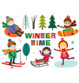 set of isolated winter time with kids part 1 vector image