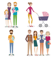 set people with family and kids on an isolated vector image vector image