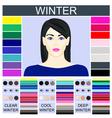 Stock set of three winter types of female vector image