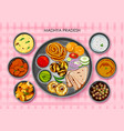 traditional cuisine and food meal thali of madhya vector image vector image