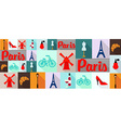 travel and tourism icons Paris vector image vector image
