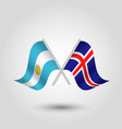 two crossed argentine and icelandic flags vector image