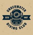 underwater diving club emblem or badge vector image