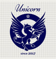 vintage unicorn logo on notebook page vector image vector image