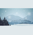 winter landscape with mountains pines forest snow vector image vector image