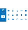 15 time icons vector image vector image