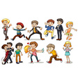 A group of people doing different activities vector image vector image
