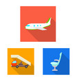airport and airplane symbol vector image vector image