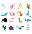 Animal logo icons set vector image vector image