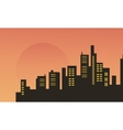 Beautiful city scenery at morning silhouettes vector image