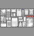 big transparent empty white plastic pack set vector image vector image