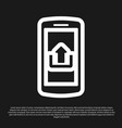 black smartphone with upload icon isolated on vector image vector image