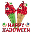 Bloody Halloween ice cream with eyes vector image vector image