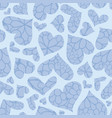 blue textured hearts seamless pattern vector image