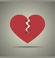 broken and stitched heart icon vector image