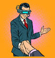 businessman shaking hands in virtual reality vector image vector image