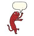 cartoon gross little monster with speech bubble vector image