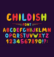 childrens font in cartoon style colorful bubble vector image