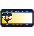 colorado state license plate vector image vector image