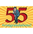 Congratulations 55 anniversary event celebration vector image