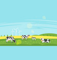 cows graze in a field vector image