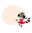 cute raccoon character ballet dancer in pointed vector image vector image