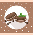 delicious macaroons round card for menu