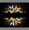 design with gold and white butterflies vector image vector image