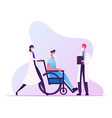doctor push wheelchair with sick man wearing face vector image