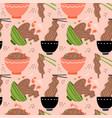 doodle yakisoba seamless pattern background vector image