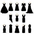 dresses silhouette set vector image