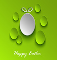 Easter greeting card with abstract green eggs vector image