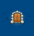 fairy-tale door with golden vector image