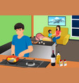 father cooking while mother and kids in the vector image vector image