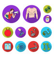 fitness and attributes flat icons in set vector image