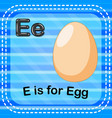 flashcard letter e is for egg vector image vector image