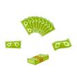 flat cash money pile stack set vector image vector image