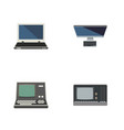 flat icon laptop set of technology vintage vector image vector image