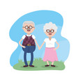 grandparent together with glasses and hairstyle vector image