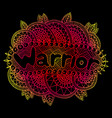 graphic art with mandala and warrior gradient vector image