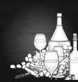 graphic glasses of wine bottles grapes and vector image vector image