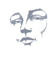 Hand-drawn monochrome portrait of white-skin vector image vector image