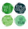 hand drawn organic vegan food labels and symbols vector image