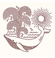 hand drawn whale line vector image vector image