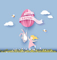 happy easter card with banny girl and egg vector image vector image