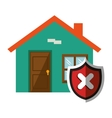 house with security shield vector image